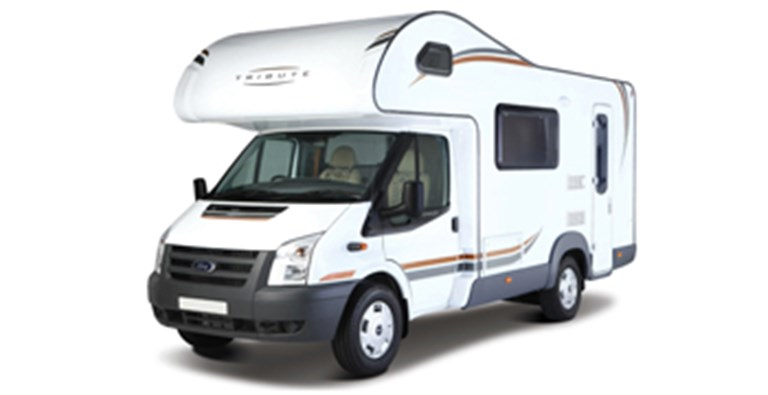 White, Tribute motorhome ready to be rented.